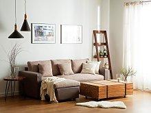 Corner Sofa Bed Black Beige Fabric with Storage