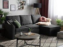 Corner Sofa Bed Black Fabric Upholstered Left Hand