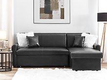 Corner Sofa Bed Black Faux Leather 3 Seater Left