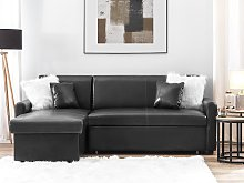 Corner Sofa Bed Black Faux Leather 3 Seater Right