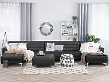 Corner Sofa Bed Black Faux Leather Tufted Modern