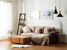 Corner Sofa Bed Black Grey Beige Fabric with