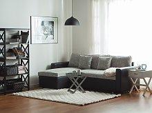Corner Sofa Bed Black Grey Fabric with Sto Hand