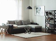 Corner Sofa Bed Black Grey Fabric with Storage