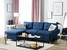Corner Sofa Bed Blue Fabric 4 Seater Storage