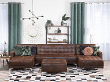 Corner Sofa Bed Brown Faux Leather Tufted Modern