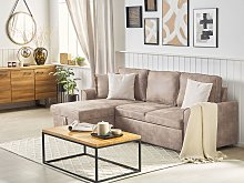 Corner Sofa Bed Brown Faux Leather Upholstered