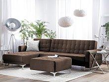 Corner Sofa Bed Brown Tufted Fabric Modern