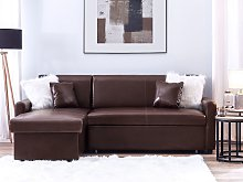Corner Sofa Bed Dark Brown Faux Leather 3 Seater