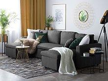 Corner Sofa Bed Dark Grey Fabric Upholstered U
