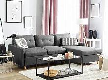 Corner Sofa Bed Grey Fabric 4 Seater Storage