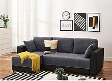 Corner Sofa Bed Grey Fabric+Black Leather with