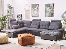 Corner Sofa Bed Grey Fabric U-Shaped Adjustable