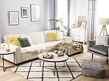Corner Sofa Bed Grey Fabric Upholstered 3 Seater