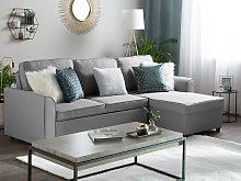 Corner Sofa Bed Grey Fabric Upholstered Left Hand