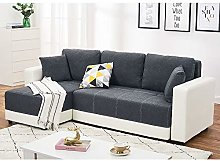 Corner Sofa Bed Grey Fabric+White Leather with