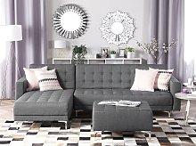 Corner Sofa Bed Grey Tufted Fabric Modern L-Shaped