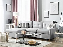 Corner Sofa Bed Light Grey Fabric 4 Seater Storage