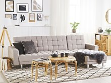 Corner Sofa Bed Light Grey Fabric Tufted