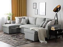Corner Sofa Bed Light Grey Fabric Upholstered U