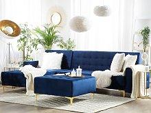 Corner Sofa Bed Navy Blue Velvet Tufted Fabric