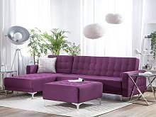Corner Sofa Bed Purple Tufted Fabric Modern