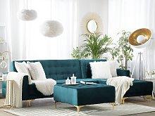 Corner Sofa Bed Teal Velvet Tufted Fabric Modern