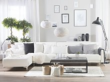 Corner Sofa Bed White Faux Leather Tufted Modern