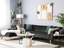 Corner Sofa Bed with 3 Pillows Black Velvet