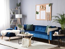 Corner Sofa Bed with 3 Pillows Blue Velvet