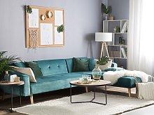 Corner Sofa Bed with 3 Pillows Green Velvet