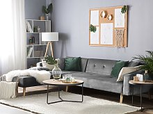 Corner Sofa Bed with 3 Pillows Grey Velvet