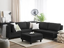 Corner Sofa Bed with Storage Container Black 5
