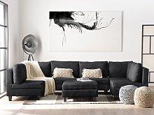 Corner Sofa Bed with Storage Container Dark Grey 6