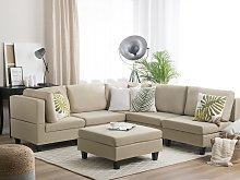 Corner Sofa Beige 5 Seater with Ottoman L-Shaped