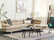 Corner Sofa Beige Fabric L-shaped Adjustable