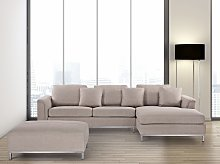 Corner Sofa Beige Fabric Upholstered L-shaped Left