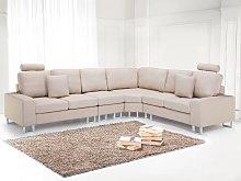 Corner Sofa Beige Fabric Upholstery Left Hand