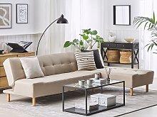 Corner Sofa Beige Fabric Upholstery Light Wood