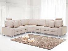 Corner Sofa Beige Fabric Upholstery Right Hand