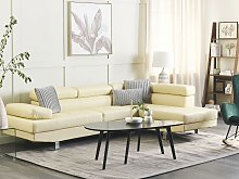 Corner Sofa Beige Faux Leather L-shaped Adjustable