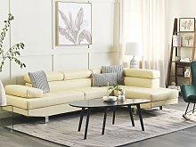 Corner Sofa Beige Fuax Leather L-shaped Adjustable