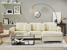 Corner Sofa Beige Leather Upholstered L-shaped