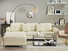 Corner Sofa Beige Leather Upholstered with Ottoman