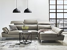 Corner Sofa Beige Leather Upholstery Left Hand