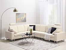 Corner Sofa Beige Leather Upholstery Right Hand
