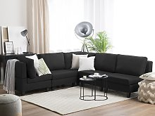 Corner Sofa Black 5 Seater Modular L-Shaped