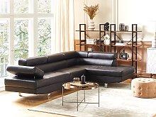 Corner Sofa Black Fuax Leather L-shaped Adjustable