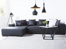 Corner Sofa Black Leather Modular Pieces Right