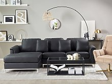 Corner Sofa Black Leather Upholstered with Ottoman